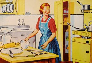 Image of a white woman wearing an apron in a kitchen.