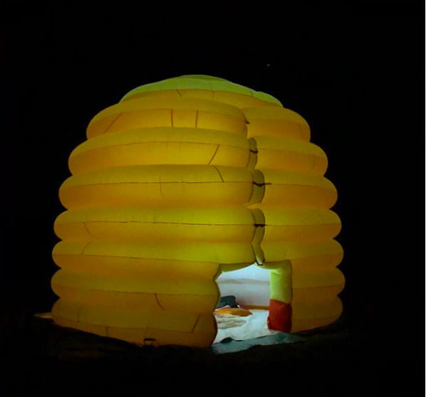 Inflatable skep model at night