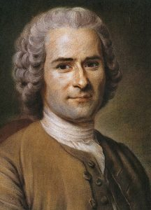 Portrait of Jean-Jacques Rousseau from the profilings to torso. Rousseau is slightly smiling and seemingly looking at the viewer. The color palette is simple, using neutral tones and depicting Rousseau in front of a dark, shadowing background.
